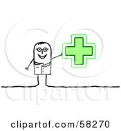Stick People Character Pharmacist Holding Up A Green Cross
