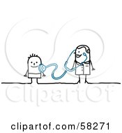 Royalty Free RF Clipart Illustration Of A Stick People Character Doctor Examining A Child by NL shop