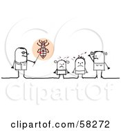 Royalty Free RF Clipart Illustration Of A Stick People Character Doctor Speaking To Lice Covered Children by NL shop