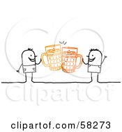 Royalty Free RF Clipart Illustration Of Stick People Character Men Toasting With Beer