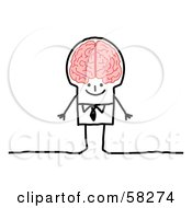 Royalty Free RF Clipart Illustration Of A Stick People Character Genius Man With A Big Brain by NL shop
