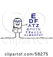 Stick People Character Optometrist Standing By An Eye Chart