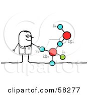 Stick People Character Scientist With A Molecule Display