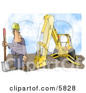 Construction Worker Standing Beside An Excavator With A Shovel Clipart Illustration