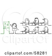 Royalty Free RF Clipart Illustration Of A Stick People Character Teacher And Students Learning The Alphabet by NL shop