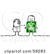Royalty Free RF Clipart Illustration Of A Stick People Character Doctor And Patient With An X Ray by NL shop