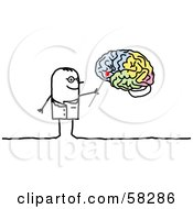 Royalty Free RF Clipart Illustration Of A Stick People Character Neurologist Pointing To A Brain