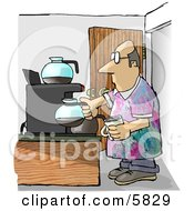 Male Worker Getting A Cup Of Coffee During His Break On Casual Friday Clipart Illustration