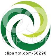 Logo Of Green Spiraling Swooshes