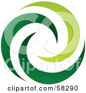 Royalty Free RF Clipart Illustration Of A Logo Of Green Spiraling Swooshes by TA Images