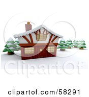 3d Winter Lodge Surrounded By Flocked Evergreens