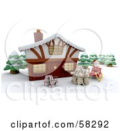 Royalty Free RF Clipart Illustration Of A Santa And His Reindeer With Gifts Resting In Front Of A 3d Winter Lodge by KJ Pargeter