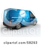 Royalty Free RF Clipart Illustration Of Santas Blue 3d Delivery Van With A Sleigh In Front Of The Moon Paint Job by KJ Pargeter