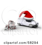 Royalty Free RF Clipart Illustration Of A Stack Of Presents By A 3d Christmas Delivery Van With A Giant Santa Hat