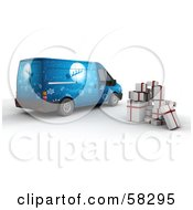 Royalty Free RF Clipart Illustration Of A Stack Of 3d Christmas Presents Besides Santas Blue Delivery Van