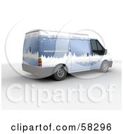 Royalty Free RF Clipart Illustration Of Santas Blue 3d Delivery Van With A Snowy Winter Paint Job