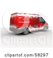 Royalty Free RF Clipart Illustration Of Santas Red 3d Delivery Van With A Snowflake Paint Job