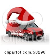 Royalty Free RF Clipart Illustration Of A 3d Santa Hat On Top Of A Christmas Delivery Van