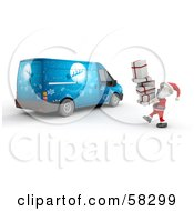 Royalty Free RF Clipart Illustration Of A 3d Santa Carrying Gifts Toward A Blue Christmas Van