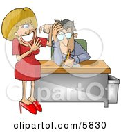 Annoyed Businessman With A Stupid Secretary Counting Her Fingers Clipart Illustration by djart
