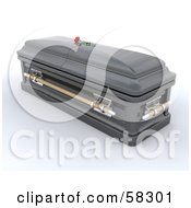 Royalty Free RF Clipart Illustration Of A Dark 3d Closed Casket With A Red Rose Resting On Top by KJ Pargeter