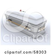 Royalty Free RF Clipart Illustration Of A White 3d Closed Casket With A Red Rose Resting On Top