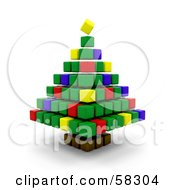 Royalty Free RF Clipart Illustration Of A Colorful 3d Christmas Tree Made Of Colorful Cubes by KJ Pargeter