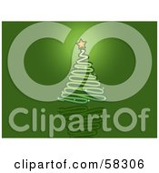 Royalty Free RF Clipart Illustration Of A Green Scribble Christmas Tree With A Shining Star On A Green Reflective Background