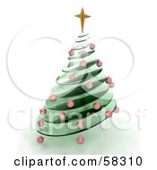 Royalty Free RF Clipart Illustration Of A 3d Green Glass Spiraled Christmas Tree With Red Ornaments And A Gold Star