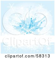 Royalty Free RF Clipart Illustration Of A White Bar Spanning A Blue Snowflake Grunge Background