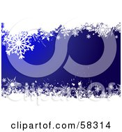 Royalty Free RF Clipart Illustration Of A Background Of Upper And Lower White Snowflake Grunge On Deep Blue
