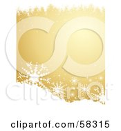 Royalty Free RF Clipart Illustration Of A Golden Background With White Snowflakes And Grunge On The Top And Bottom