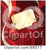 Royalty Free RF Clipart Illustration Of A Golden Snowflake Tag Bordered With Christmas Ornaments And Red Vines