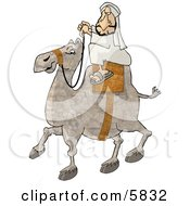 Middle Eastern Arab Man Riding A Camel Through A Desert Clipart Illustration