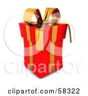 Royalty Free RF Clipart Illustration Of A Tall 3d Red Christmas Gift Box Adorned With A Gold Ribbon And Bow