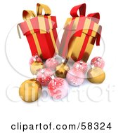 Royalty Free RF Clipart Illustration Of Two Tall 3d Red And Gold Christmas Gifts With Ornaments
