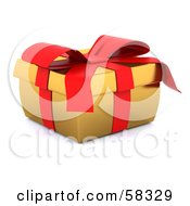 Royalty Free RF Clipart Illustration Of A Squished 3d Golden Christmas Gift Box Adorned With A Red Ribbon And Bow