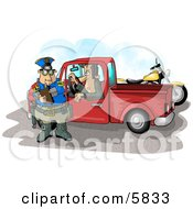 Pulled Over Man In A Truck Watching A Cop Writing A Speeding Ticket Clipart Illustration