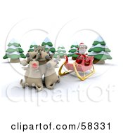 Royalty Free RF Clipart Illustration Of A 3d Santa Sitting In His Sleigh And Letting His Reindeer Rest