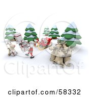 Royalty Free RF Clipart Illustration Of A 3d Santa And Rudolph Delivering Gifts While Other Reindeer Rest by KJ Pargeter