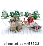 Royalty Free RF Clipart Illustration Of A 3d Santa Sitting In His Sleigh His Reindeer Cuddling As He Unloads Gifts by KJ Pargeter