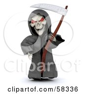 Royalty Free RF Clipart Illustration Of A 3d Evil Skeleton White Character With Red Eyes Wearing A Grim Reaper Halloween Costume by KJ Pargeter