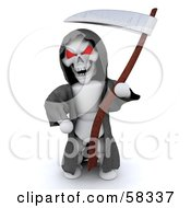 3d Evil White Character With Red Eyes Wearing A Grim Reaper Halloween Costume