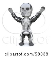 3d White Character Wearing A Skeleton Halloween Costume