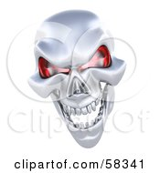 3d Silver Human Skeleton Head With Glowing Red Eye Sockets