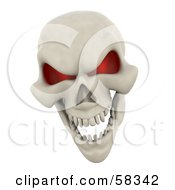 Royalty Free RF Clipart Illustration Of A 3d Human Skeleton Head With Glowing Red Eye Sockets by KJ Pargeter