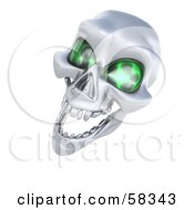 3d Silver Human Skeleton Head With Glowing Green Eye Sockets