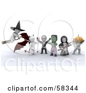 Group Of 3d White Characters In Witch, Devil, Skeleton, Frankenstein, Grim Reaper And Headless Horseman Costumes