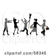 Royalty Free RF Clipart Illustration Of A Group Of Silhouetted Children Running And Trick Or Treating On Halloween by KJ Pargeter