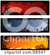 Royalty Free RF Clipart Illustration Of A Digital Collage Of Three Halloween Haunted House Graveyard And Pumpkin Banners by KJ Pargeter